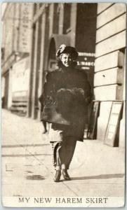 1911 RPPC Real Photo Postcard Woman Walking on Street MY NEW HAREM SKIRT