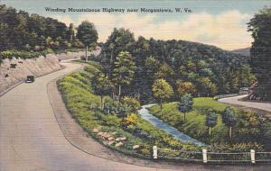 MORGANTOWN, West Virginia, 1930-1940´s; Winding Mountainous Highway