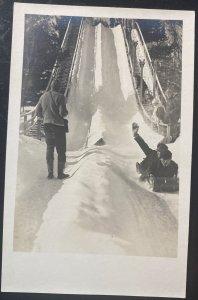 Mint USA Real Picture Postcard Snow Toboggan Run Lake Placid Ny