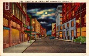 Virginia Roanoke Campbell Street Looking East At Night