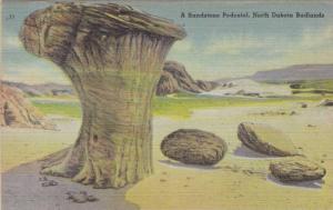 Sandstone Pedestal in the Badlands of North Dakota, 1930-40s