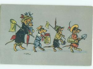 foreign 1915 Postcard signed HUMANIZED DRESSED DOGS CARRYING OBJECTS AC2334