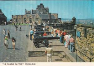 Scotland Edinburgh The Castle Battery Showing Canons
