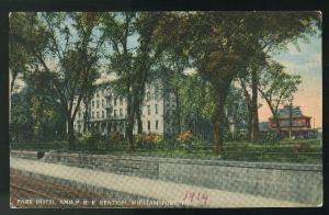 Pennsylvania Park Hotel and PRR Station  Williamsport PA 1914 Curteich Postcard