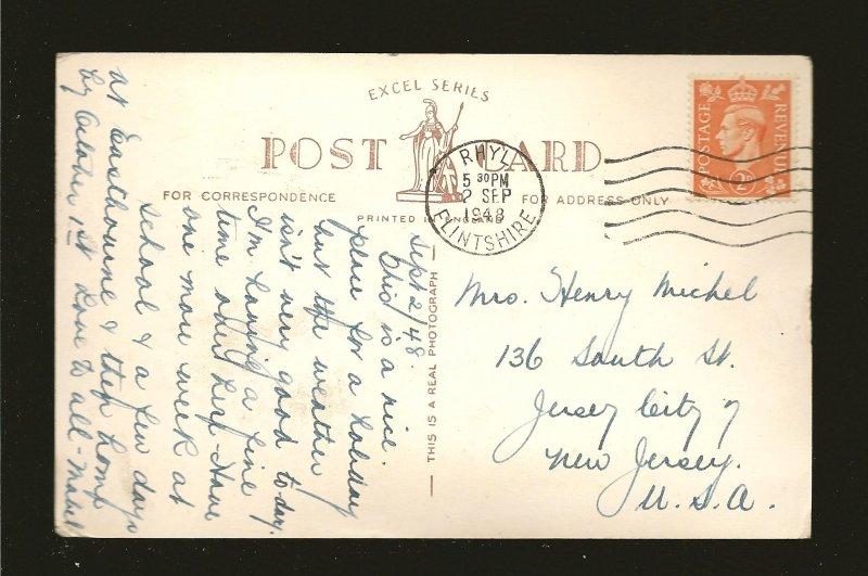 Postmarked 1948 Rhyl Flintshire West Promenade Bowling Green Rhyl Photo Postcard