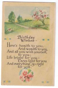 Arts & Crafts Birthday Poem Postcard 1915 Winsch back