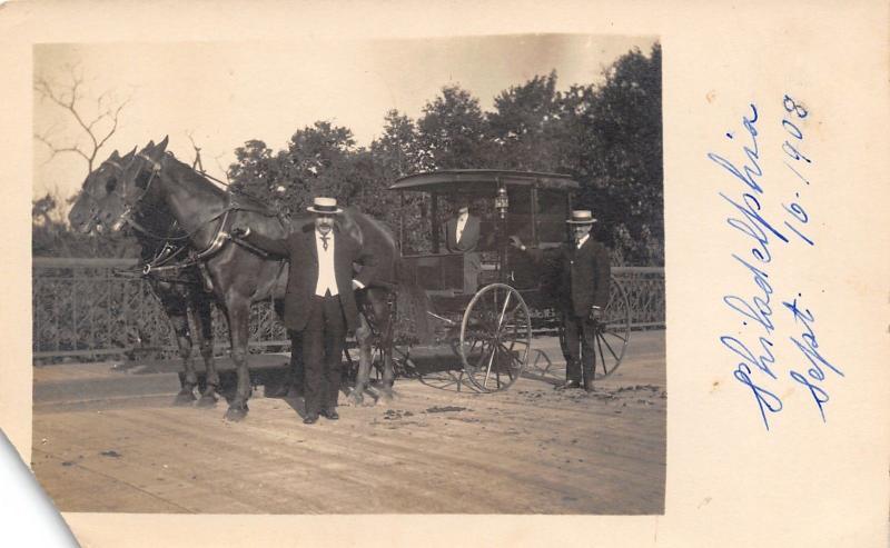 Real Photo Postcard~Philadelphia~2 Dapper Gents & Lady~Horse Team Carriage~1908