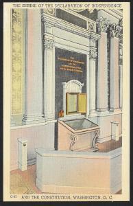 Shrine of Declaration of Indepedence & Constitution Washington DC Unused c1930s