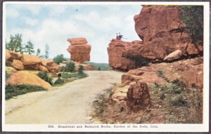 GARDEN OF THE GODS ...  shows couple people at Steamboat & Balanced Rocks, 1910s