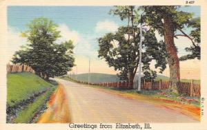 Elizabeth Illinois~Rural Road Out of Town~Greetings Postcard 1938