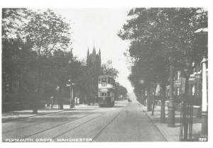 Reproduction Vintage 1925 Postcard, A Tram on Plymouth Grove Manchester 86T