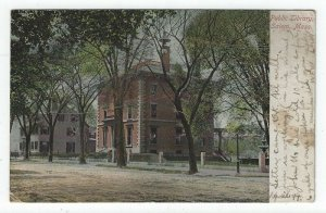 Salem Massachusetts,  Vintage Postcard View of The Public Library, 1906