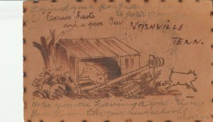 Excuse Haste in Nashville Tennessee~Pigs~Poor Pen Pun~1906 Leather Postcard