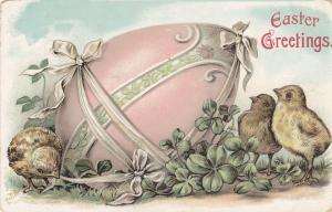 EASTER; Greetings, Big pink decorated egg, Chicks, Shamrocks, PU-1907