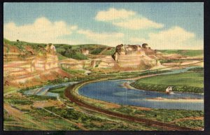Wyoming GREEN RIVER Panorama of the Palisades Green River Highway U.S. 30 LINEN