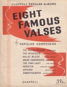 Eight Famous Valses Classical Sheet Music Album