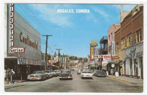 Obregon Avenue Cars Nogales Sonora Mexico postcard