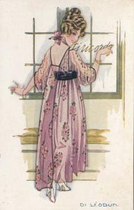 ART DECO ; Flirting Female wearing pink floral frock, 1910-20s