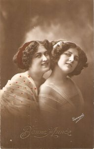 Two smiling pretty ladies Old vintage French New Year Greetingspostcard