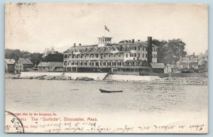 Postcard MA Gloucester The Surfside Hotel Inn View From Lake 1905 Rotograph U02