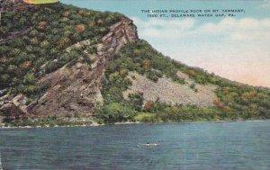 Pennsylvania Delaware Water Gap The Indian Profile Rock On Mountain Tammany 1...