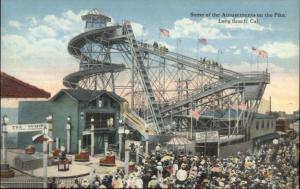 Amusement Park Rides THE WHIP & SLIDE - Long Beach CA c1910 Postcard myn