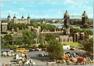 postcard England, UK - The Tower of London and Tower Bridge
