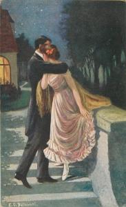 K. O. Belawski - Romantic Lovers Couple Finally alone 1910s postcard