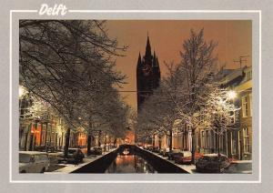 Netherlands The Old Church on the Oude Delft by Night Cars Voitures