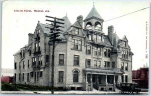 Monroe, Wisconsin Postcard LUDLOW HOUSE HOTEL Street View / Tour Bus 1911 Cancel