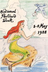 National Postcard Week 1-8 May 1988 fantasy, siren, bird, letter