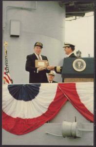Ronald Reagan,USS New Jersey Recomissioning Postcard