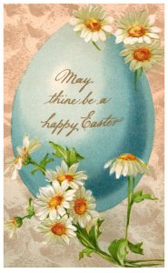 Easter .  Flowers , Blue Egg