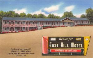 Seward NE~East Hill Motel~Art Deco Sign~August, Not Using Air Conditioner 1962