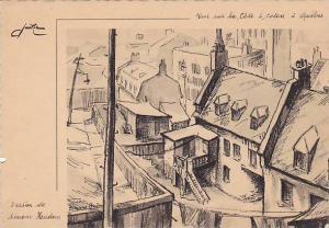 Artist Signed, Vue sur la Cote a Colon a Quebec, Dessin de Simone Hauden, Can...