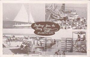 New Jersey Atlantic City Greetings From The Army Airmen Sailing Swimming Sunb...