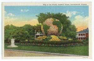 Garden Map of the World, Soldiers Home Leavenworth Kansas KS , Linen