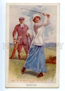 149211 On the Links GOLF Player BELLE by Cecil W. QUINNELL OLD