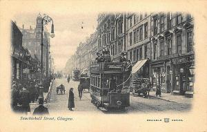 Glasgow Scotland Sauchiehall Street Double Decker Trolley Stores Postcard