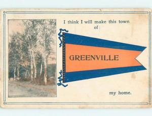 Divided-Back PENNANT POSTCARD Greenville Illinois IL HM5190