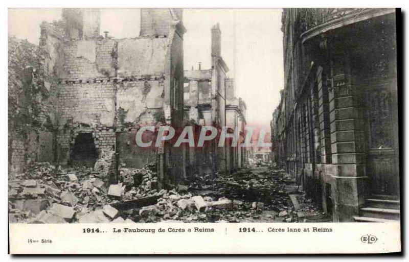 Old Postcard The Faubourg Ceres in Reims Army