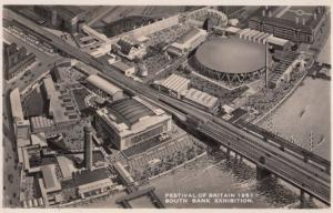 Festival Of Britain Spectacular Aerial View London Southbank RPC Postcard