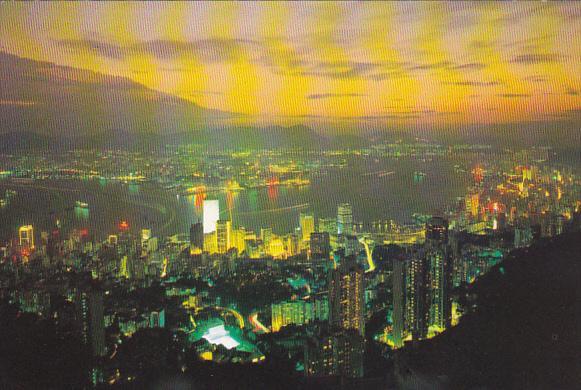 Hong Kong Aerial View At Night