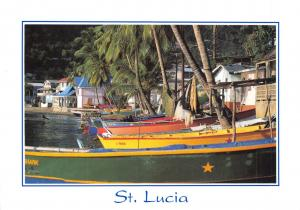Postcard Colourful Fishing Boats, St Lucia, Caribbean, Large Format H50