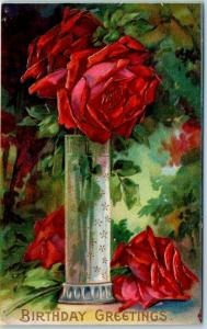Vintage HAPPY BIRTHDAY Embossed Postcard Colorful Red Roses in Glass Vase c1910s