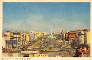 Argentina Buenos Aires: Avenida 9 de Julio, auto, cars, monument 1959