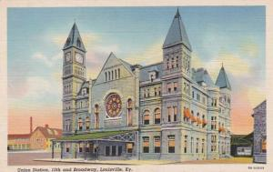Kentucky Louisville Union Station 10th and Broadway Curteich