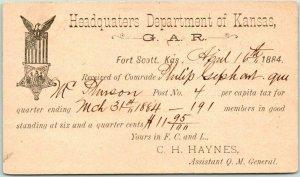1884 Ft. Scott KANSAS G.A.R. Postcard HQ Dept. Grand Army / Republic Dues Card