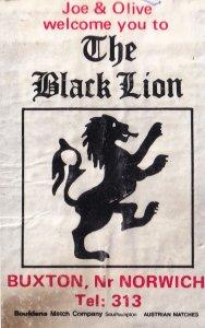 The Black Lion Buxton Norfolk Pub Inn Matchbox Label