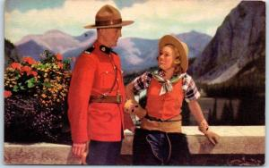 Vintage 1950s Canada Postcard RCMP Mountie w/ Pretty Girl at Vista Point Unused